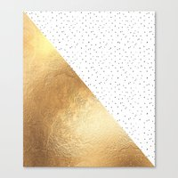 gold dots Canvas Prints featuring Gold and Polka Dots by Jenna Davis Designs