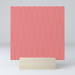 Red and White Christmas Chevron Stripes Mini Art Print