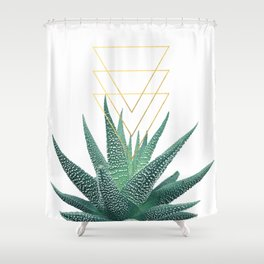 Succulent geometric Shower Curtain