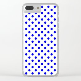 Small Polka Dots - Blue on White Clear iPhone Case