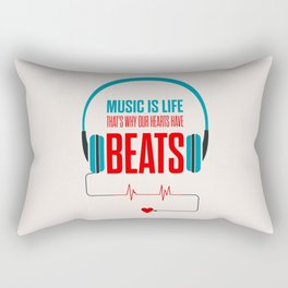 Lab No. 4 - Music Is Life.. That's Why Our Hearts Have Beats Motivational Quotes Poster Rectangular Pillow
