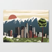 los angeles Canvas Prints featuring Los Angeles by Sam Brewster