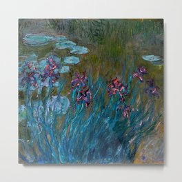 Monet Irises and Water Lilies Metal Print