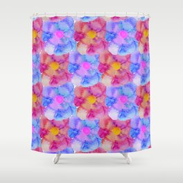 Artsy Pink Blue and Purple Watercolor Flowers Shower Curtain
