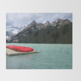Lake Louise Red Canoes Throw Blanket