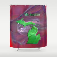 michigan Shower Curtains featuring Michigan Map by Roger Wedegis