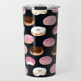 Donuts pattern pink and chocolate in a dark background Travel Mug