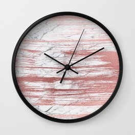 Elegant faux rose gold brushstrokes gray marble Wall Clock