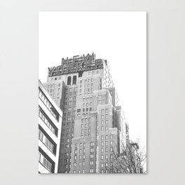 New Yorker Sign - NYC Black and White Canvas Print