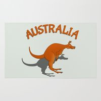 australia Area & Throw Rugs featuring Kangaroo Australia by mailboxdisco