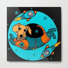 Cute cartoon dog astronaut in space kids gifts Metal Print