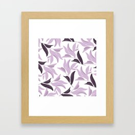 Abstract modern pastel lavender white leaves floral Framed Art Print