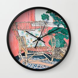 Cane Chair in Pink Interior Wall Clock