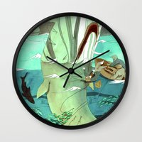 moby dick Wall Clocks featuring Moby Dick by Mary Slumber