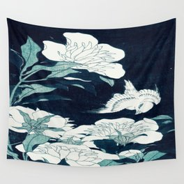 JAPANESE FLOWERS Midnight Blue Teal Wall Tapestry