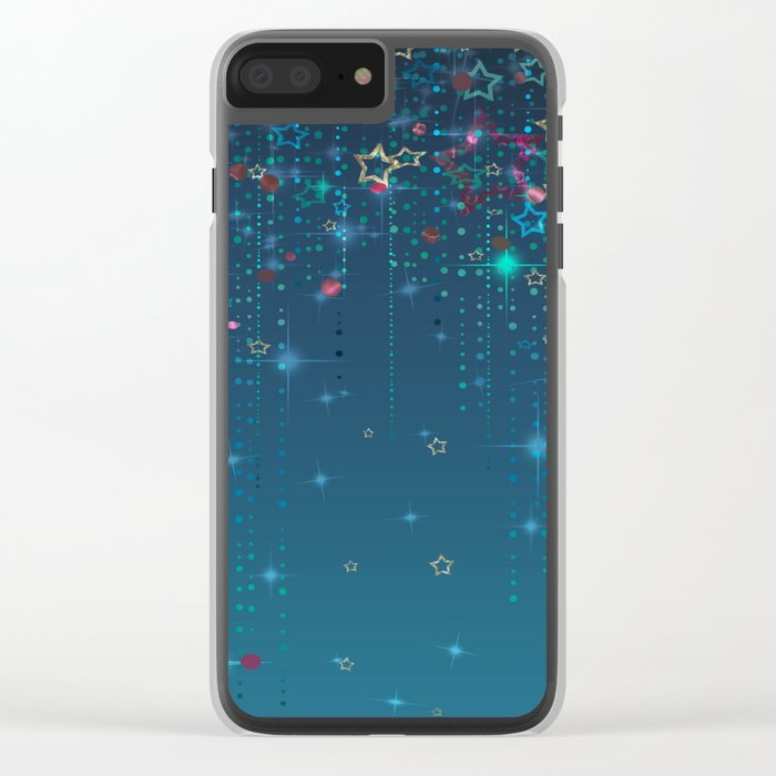Magic fairy abstract shiny background with stars Clear iPhone Case