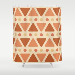 Mid Century Modern Triangles Dots Light Orange Shower Curtain