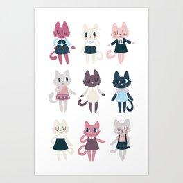 Adorable Fashion Kittens Art Print