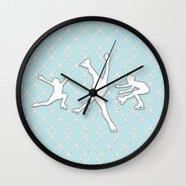 Sky Blue Girls Figure Skating Wall Clock