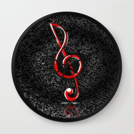 """Everywhere music is everything"" - Treble clef (original artwork) Wall Clock"