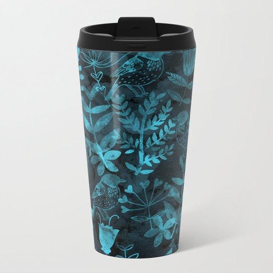 Watercolor Floral & Birds IV Metal Travel Mug