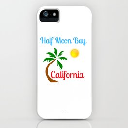Half Moon Bay California Palm Tree and Sun iPhone Case