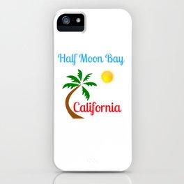 Half Moon Bay California Palm Tree and Sun iPhone Case