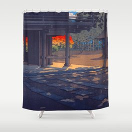Vintage Japanese Woodblock Print Colorful Fall Trees Shinto Shrine Japanese Architecture Shower Curtain