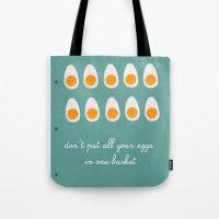 eggs Tote Bags featuring eggs by Michela Buttignol
