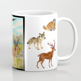 Funny animals in a mountain landscape Coffee Mug