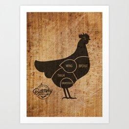 Chicken Butcher Chart(woodgrain) Art Print