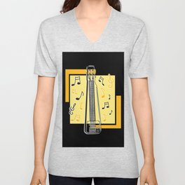 Steel Guitar with music notes Unisex V-Neck