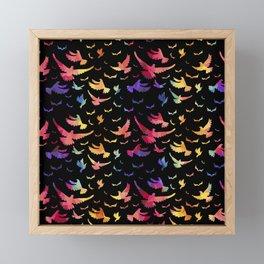Colorful bird pattern black Framed Mini Art Print