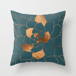 Abstract Metal Copper Blossom on Emerald Throw Pillow