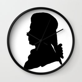 Wolfgang Amadeus Mozart (1756 -1791) silhouette, engraved by Hieronymous Löschenkohl, 1785 Wall Clock