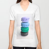 macaroons V-neck T-shirts featuring macarons / macaroons by Whimsy Romance & Fun