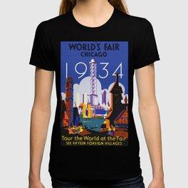 1934 Chicago World's Fair Travel Poster T-shirt