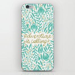 Adventure is Calling – Turquoise & Gold Palette iPhone Skin