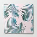Green Palm Leaves on Light Pink by naturemagick