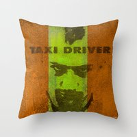taxi driver Throw Pillows featuring Taxi Driver by Joe Ganech