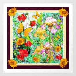 YELLOW IRIS BUTTERFLY SPRING GARDEN BURGUNDY TRIM Art Print