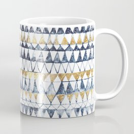 Watercolor Indigo Blue Gold Triangle Tribal Pattern Coffee Mug
