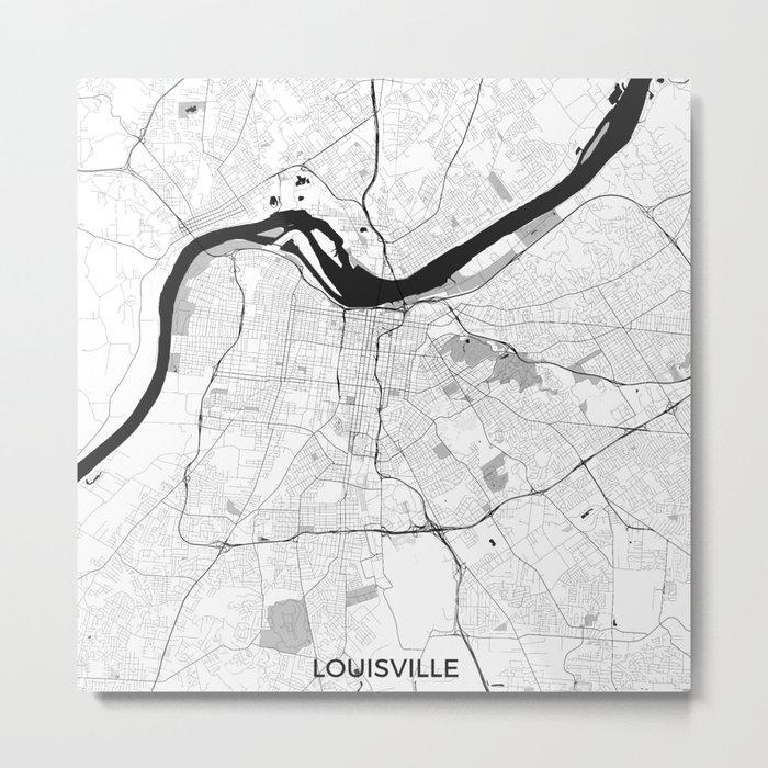 Louisville Map Gray Metal Print