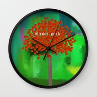 dramatical murder Wall Clocks featuring murder park by Robert Morris