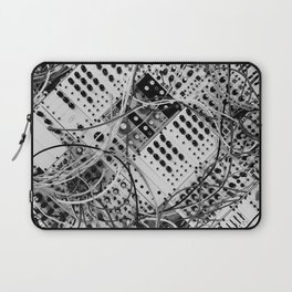 analog synthesizer  - diagonal black and white illustration Laptop Sleeve