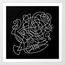 black and white modern abstract art Art Print