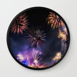 New Year Fireworks Wall Clock