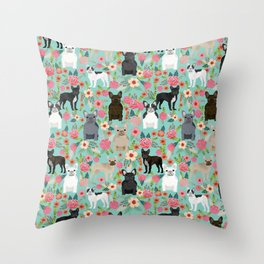 Frenchie floral french bulldog cute pet gifts dog breed must haves florals french bulldogs Throw Pillow