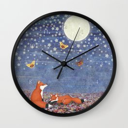 moonlit foxes Wall Clock
