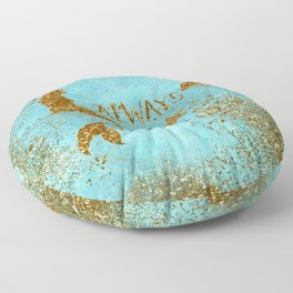 ALWAYS BE A MERMAID-Gold Faux Glitter Mermaid Saying Floor Pillow